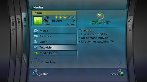 Xbox IPTV Screenshot Interface